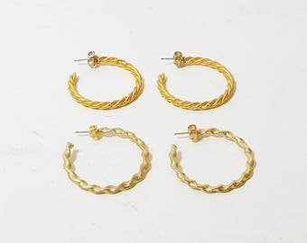 "2 Pairs Hoop Earrings, Pierced, Gold Tone, Braided, Twisted, Shiny, 1 1/4"", Never Worn, Vintage 80s, Costume Jewelry"