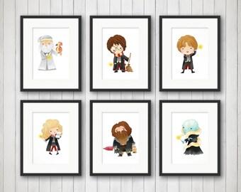 Kids Room Art - Potter Prints - Potter Fan - Bedroom Art - Nursery Decor - Childrens Room - Playroom Decor - Kids Room Decor - Gift for Kids