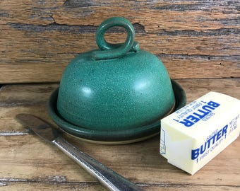 Ceramic Butter Dish / Handmade Pottery Covered Dish / Copper Green Glazed Stoneware / Brie Dish / Cheeseball Covered Dish