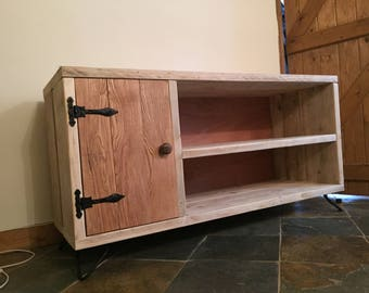 Rustic wood scaffold reclaimed timber TV stand unit with hairpin legs