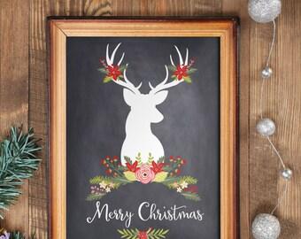 Merry Christmas sign Christmas decoration wall art printable print winter decor holiday decoration print art hand lettered calligraphy BD281