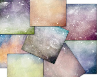 Stars, galaxy space background digital paper 12 x 12 in   8 scrapbooks premade pages ( nr105)