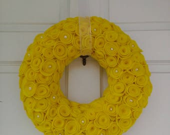 Yellow wreath, yellow rose wreath, rose wreath, spring wreath, summer wreath
