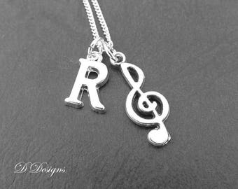 Treble Clef Necklace Personalised Sterling Silver Music Jewellery