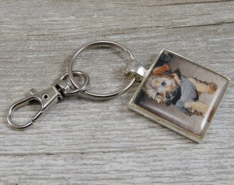 Photograph Key Chain - Pet Photo Key Chain - Customized Jewelry - Silver Plated Resin Square Key Chain - Personalized Gifts