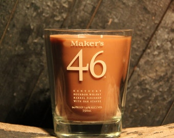 Maker's Mark 46 Whisky Candle - Recycled Bourbon Bottle Candle Handmade Soy Candle / Man Candle, Bourbon Gifts, Whiskey Candle, Whiskey Gift