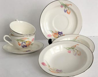 Hall Superior Quality Dinnerware Lunch Set Tulip Pattern Pair Tea Cups with Saucers and Small Bowls & Hall dinnerware | Etsy