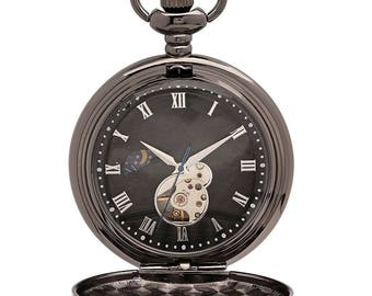 Mechanical Luxury Smooth Black Pocket Watch with Roman Numerals