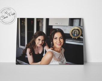 Best friend gift, Maid of Honor Gift, Bridal party gift, Photo on canvas, Sister best friend, Wedding picture, Sisters photo, Sister gift