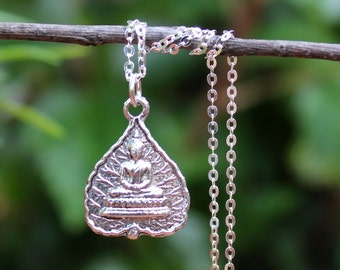 Buddha Pendant Necklace.Sterling Silver Chain.Metal plated in sterling silver.Spiritual.Namaste.Yoga.Statement.Gift.Gold.chakra.Handmade.