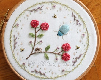Beetle and Berries Stumpwork Embroidery Pattern