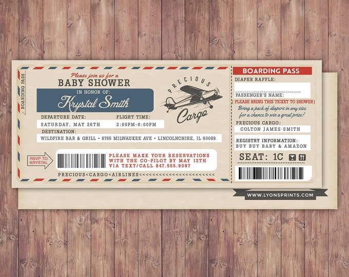 Vintage airplane invitation, Precious Cargo Invitation, Oh The Places You Will Go Baby Shower Invitation • Baby Shower, diaper raffle