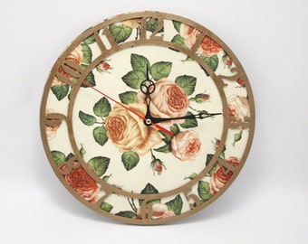 Decoupage wall clock, art clock, decoupage clock, wall clock, rose, rose decoration, floral clock, shabby chic clock, home decor