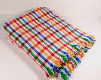 Striped Plaid Wool-Blend Throw Stadium Picnic Lap Blanket - Vintage Throw Plaid Blanket Yoga Blanket