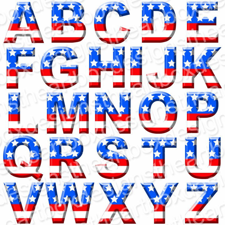 May The 4th Be With You Clip Art: Patriotic Alphabet Clipart, USA Digital Alphabet, Red