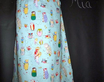Sample SALE - Will fit Size S/M - Ready to MAIL - A-line SKIRT - Alexander Henry - Owls - by Boutique Mia