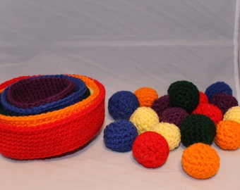 Rainbow Stacking and Sorting Toy-Baskets and Balls