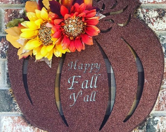 Pumpkin door hanger, happy fall y'all, fall decor, pumpkin decor, fromt door wreath, pumpkin wreath