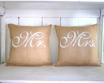 Burlap wedding pillow ,Mr and Mrs, rustic wedding,custom pillow, established date, farmhouse decor, wedding gift, rustic wedding,
