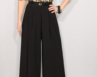 High waisted black pants formal Black pants with pockets Women trousers Plus size clothing Custom made pants
