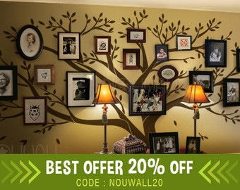 Wall decal  Family Tree Wall decal -Living Room Wall Decals - Photo frame tree Wall Stickers - wall graphic & Family Tree Wall decal Office Wall Decals Photo frame tree