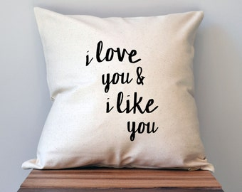 Parks and Recreation I love you and I like you Pillow Cover, 18 x 18 Pillow Cover, Parks and Recreation Pillow Cover, black friday sale