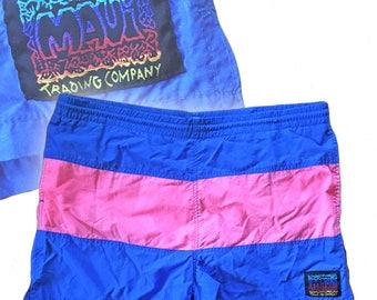 Vintage Color-Blocked Swim/Board Shorts — Large