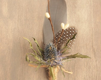 Rustic Natural Dried Eryngium Thistle Boutonniere Grooms Buttonhole Everlasting Keepsake