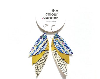 Boho Feather Earrings, Yellow & Blue Dangle Earrings, Statement Fabric Earrings, Abstract print.