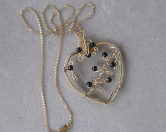 Gold and Onyx Heart Pendant - Wire Wrapped 14K Gold Filled Heart with Onyx Beads