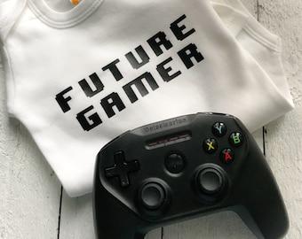 Future gamer baby bodysuit, future gamer shirt, gaming buddy, nerd baby, baby shower gift