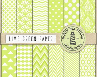 GO GREEN | Lime Digital Paper Pack | Scrapbook Paper | Printable Backgrounds | 12 JPG, 300dpi Files | BUY5FOR8