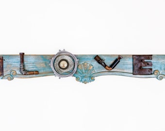 Recycled rustic repurposed parts word art sign