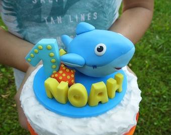 Shark cake topper, Birthday cake topper, 1st cake topper, Shark theme birthday, Blue birthday, Boy birthday, Boy cake topper, Shark figurine