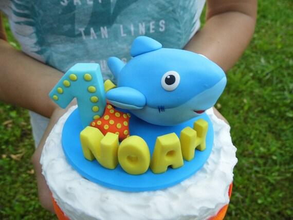 Shark cake topper Birthday cake topper 1st cake topper