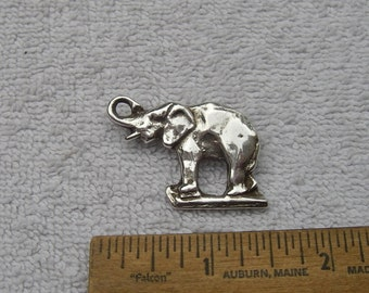 Vintage Cast Sterling ELEPHANT PIN-Raised Trunk