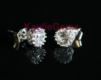 6mm Crown CZ Earrings Stud Cubic Zirconia - 1 Pair