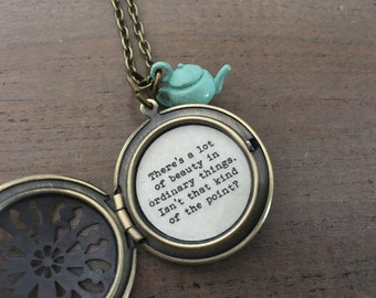 The Office Necklace, Pam Halpert, brass Locket, Theres a lot of beauty in ordinary things, novelty jewelry,