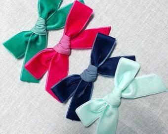 Velvet ribbon bows - hot pink - mint - navy blue - emerald green - nylon headbands - alligator clips - hair bows