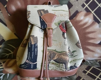 Vintage backpack Italian backpack Stylish backpack Hiking backpack Everyday backpack Lady's backpack Leather backpack Backpack with animals