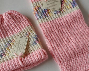 Dog Sweater & People Hat - PASTEL PINK and CREAM - Match your dog - Knitted sweaters for dogs - Dog clothes - Ready To Ship