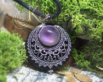 "Amulet Protection Necklace Pendant ""Lleuad"" Amethyst Moon Wicca - Wood Silver-Filled Brass Gemstone - Pagan Triple Goddess"