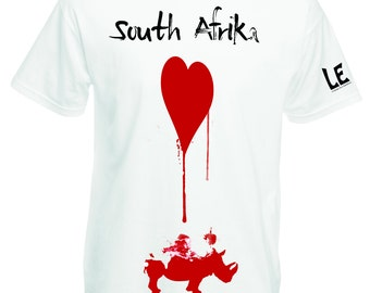 Mens tshirt 2XL 3XL, XXXL t shirt red rhino heart silkscreened guys white tee. Rhinoceros tees animal lover gift Save animals charity donate