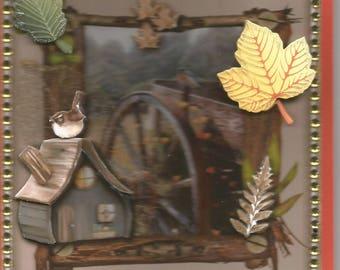 Card landscapes, nostalgic, 3D, handmade, category landscape - birthday, thank you, get well, retirement, rural scene.