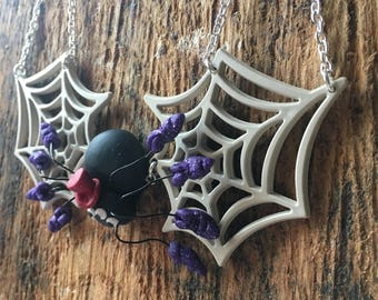 Spider in the web halloween necklace