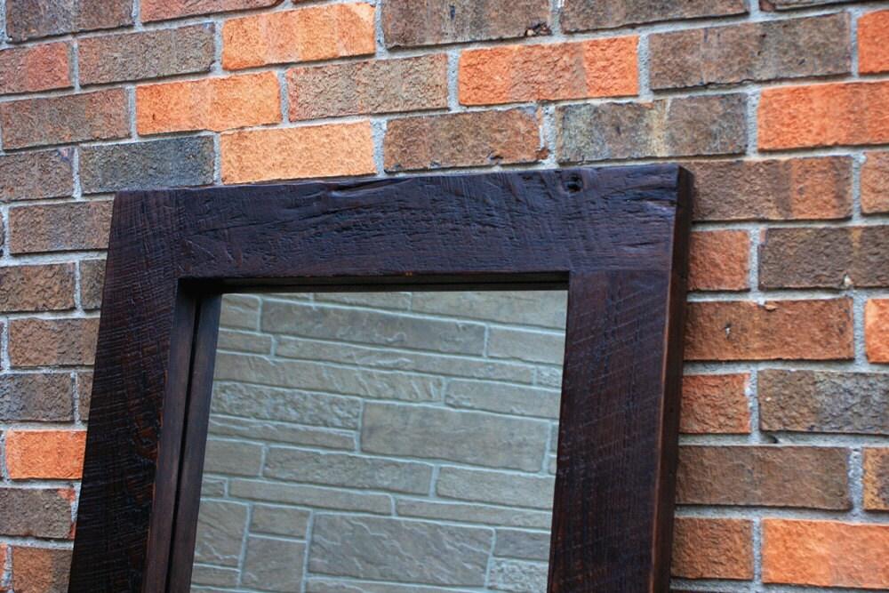 Framed Floor Mirror. Thick Wooden Frame Mirror. Chunky Framed