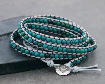 Beaded Bracelets, Wrap Chrysocolla Woven Bracelets, 5x Wrap Bracelets, Stone Wrap Stacking Bracelets, Fantasy Hippy Bohemian Bracelets