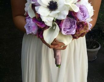 Anemone Wedding Bouquet Lilac & White Peony Bouquet Silk Peonies, Hydrangea, Calla Lilies and Anemone