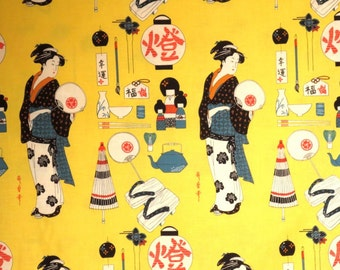 Bright Yellow Geisha Coterie Print Pure Cotton Fabric from Alexander Henry--By the Yard