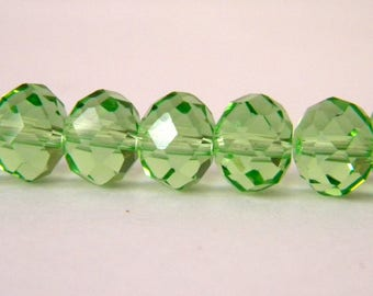 10 Austrian 10 mm AB4 light green faceted crystal glass beads